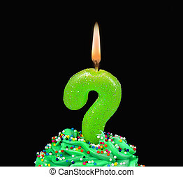 question mark birthday candle
