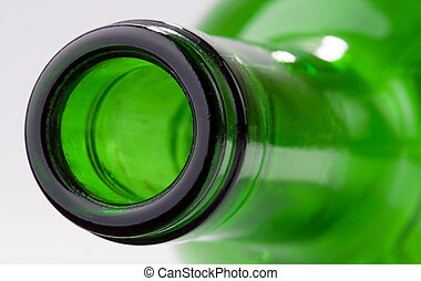 Close-up of green wine bottle