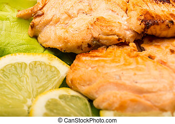Close up of grilled salmon