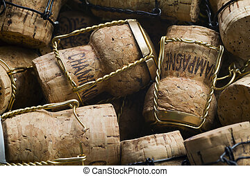 Champagne corks - Close-up of group of high-quality...