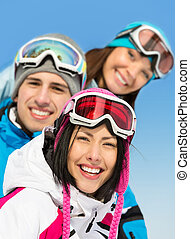 Close up of group of skier friends