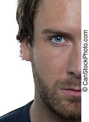 close up of half man face