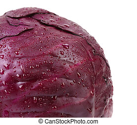 Close up of half red cabbage. Whole background.
