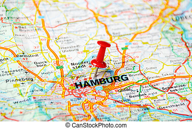 hamburg karta Hamburg map car. Close up of hamburg map with red pin and cabrio  hamburg karta