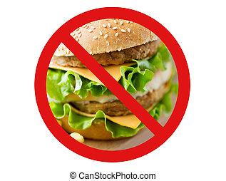 close up of hamburger behind no symbol