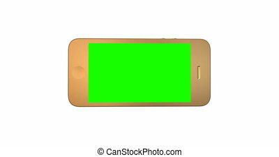 Close-up of hand controls on a green screen smartphone.