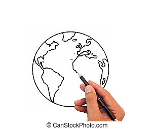 hand drawing the world
