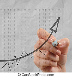 close up of hand draws business success chart concept on virtual screen as concept