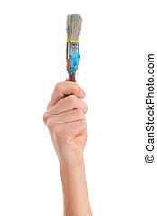 Close-up Of Hand Holding Paintbrush