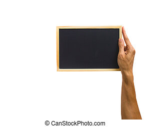 Close-up of hand holding small chalkboard isolated on white background. Clipping path of hand holding object against white background.