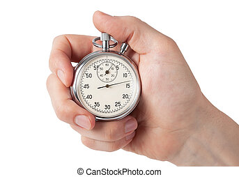 Close up of hand holding stopwatch, isolated on white background