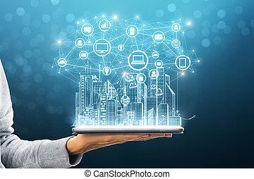 Future and media concept