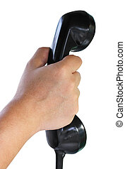 Close Up Of Hand Holding Telephone On White Background