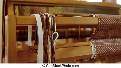 Close-up of hand loom machine in a empty workshop 4k - Close...
