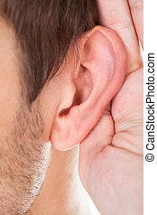 Close-up Of Hand Near Ear
