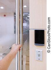 Hand Opening Door In Security System
