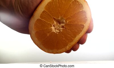 Close-up of hand squeezed orange juice