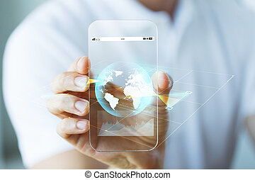 close up of hand with earth globe on smartphone