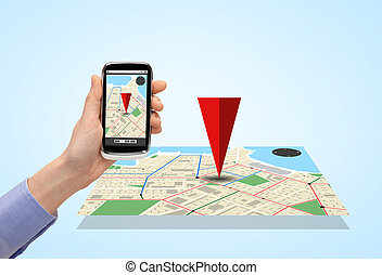 close up of hand with smartphone gps navigator map - people,...