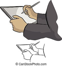 Close-up of hand working with stylus on digital tablet pc...