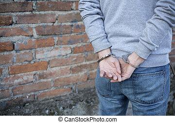 close up of handcuffed man hands