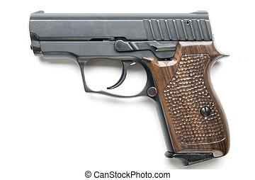 handgun - close up of handgun isolated over white