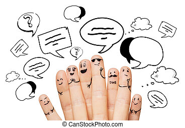close up of hands and fingers with smiley faces -...