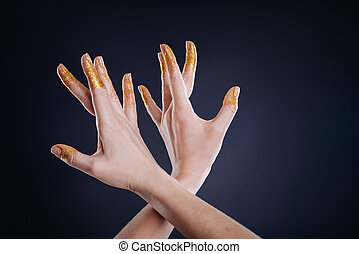 Close up of hands gesturing