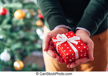 Close up of hands holding a Christmas red box