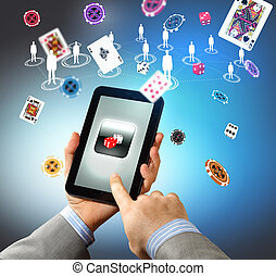 Close-up of hands holding tablet pc
