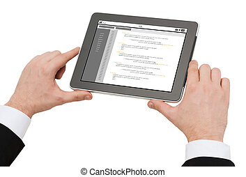close up of hands holding tablet pc with coding