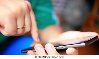 Close up of hands man using his cell phone in restaurant,cafe. HD. 1920x1080
