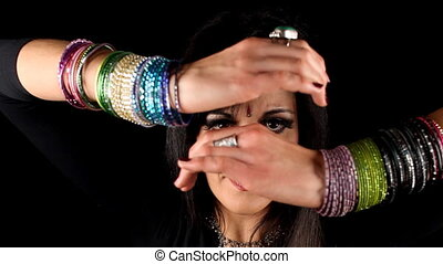 close-up of hands of an oriental arabic style dancer