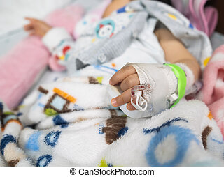 close up of hand's patient baby in the hospital