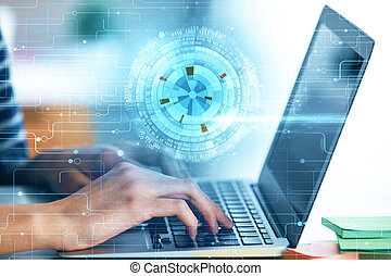 Close up of hands using laptop with abstract digital business interface. Future, innovation and finance concept. Double exposure
