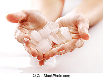 Hands with ice cubes