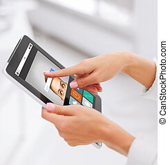close up of hands with web search on tablet pc
