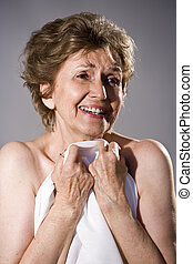 Close up of happy elderly woman
