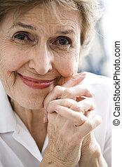 Close up of happy elderly woman - Close up of happy senior...