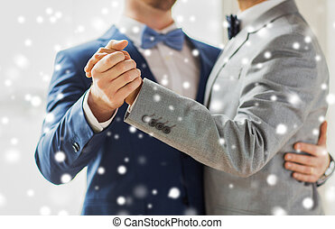 close up of happy male gay couple dancing - people, ...
