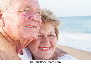 close-up of happy senior couple