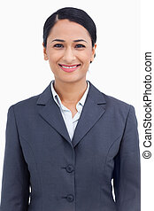 Close up of happy smiling saleswoman