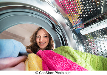 Happy Woman View From Inside The Washer