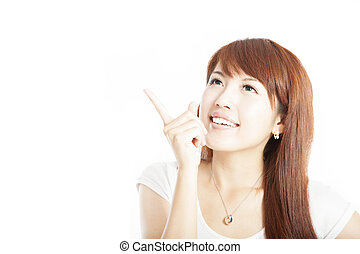 Close up  of  happy young business woman pointing at something