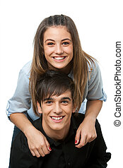 Close up of happy young couple isolated.