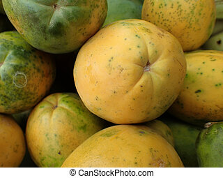 Close-up of Hawaiian papayas