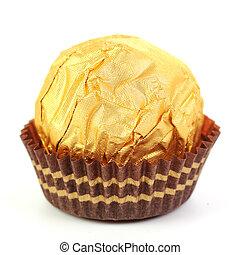 Hazelnut chocolate wrapped in golden foil