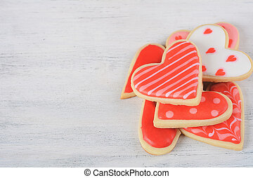 Close up of heap of Valentine's day cookies