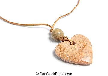 Heart Pendant - Close Up of Heart Pendant on White...