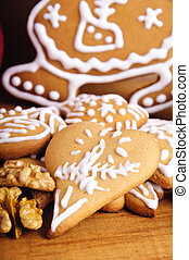 ginger bread - close up of heart shaped ginger bread